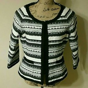 {Bob Mackie} Stripe Cropped Jacket